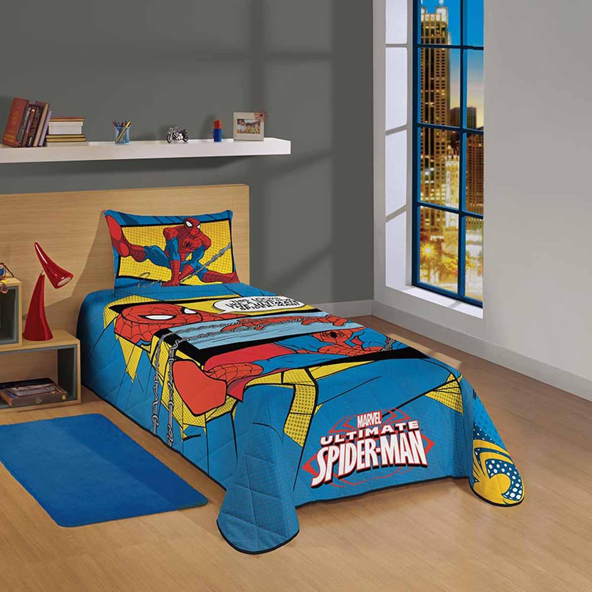 Colcha Matelassê Spider Man Ultimate 1,50Mx2,10M 1 Peça Lepper