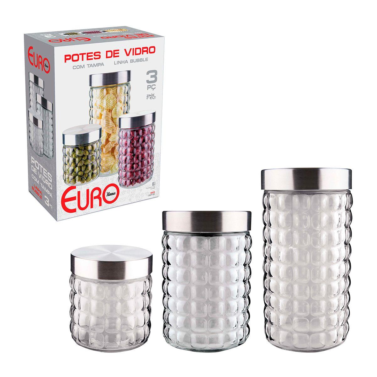 Conjunto de Potes de Vidro com Tampa Inox Bubble 3 pc