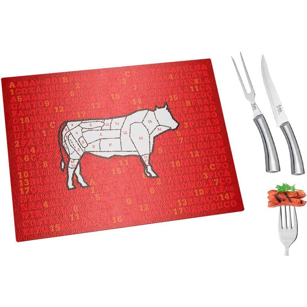 Conjunto para Churrasco Carnes com Tabua de Vidro 3 Peças - Euro