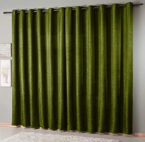 Cortina De Sala Cetim Amassado Realce Verde Premium 2,00x1,80cm Sultan