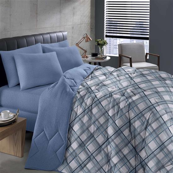 Edredom Solteiro Basic Estampado Charles Azul 1Pc