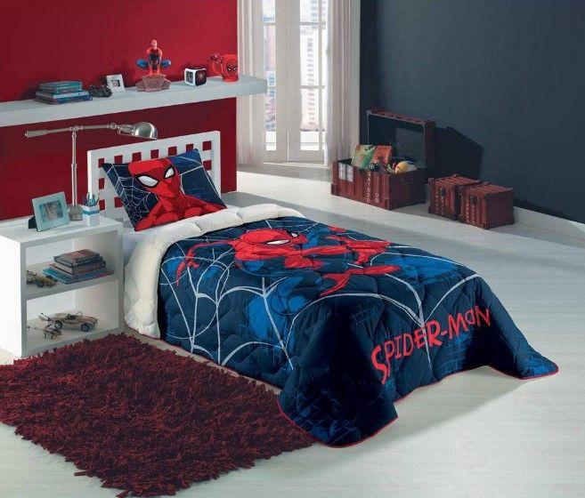 Edredom Solteiro Estampado Spider Man 1,50 M X 2,00 M  1 Peça - Lepper