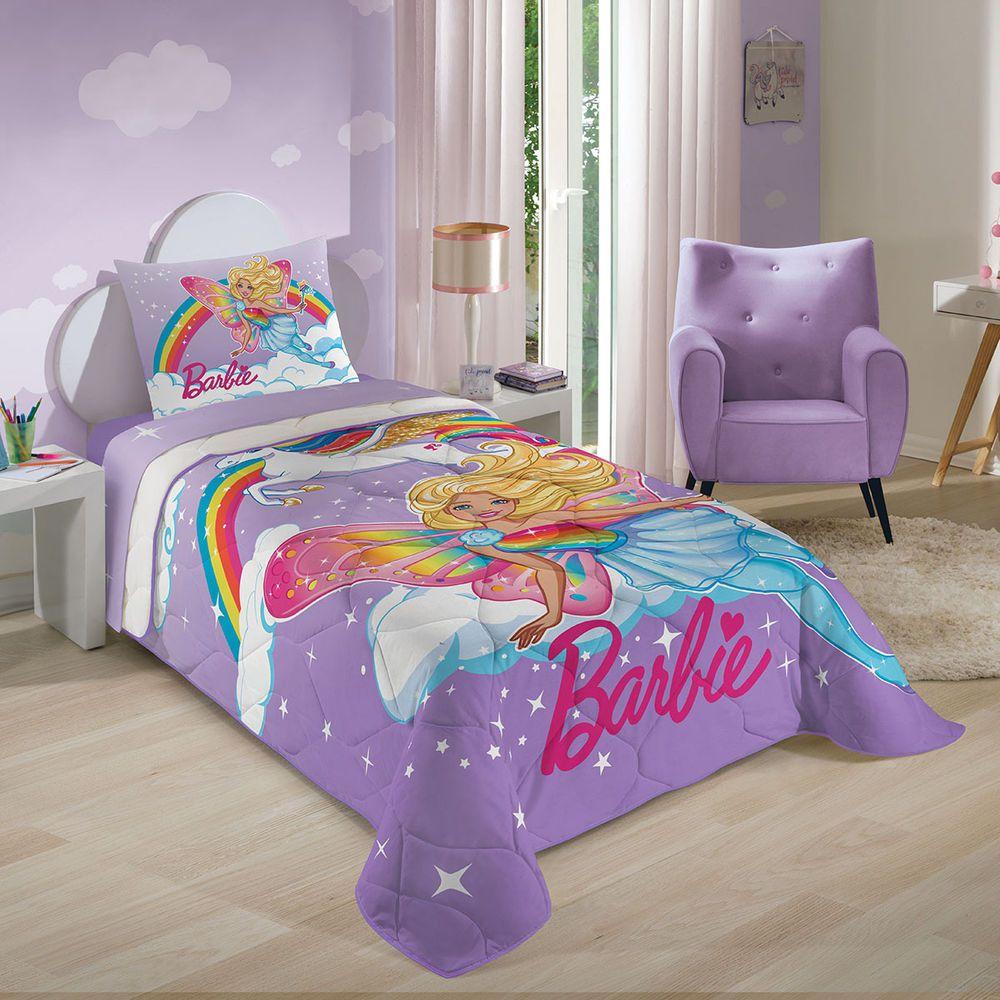 Edredom Solteiro Lilás Barbie Reinos Mágicos 1,50 X 2,00