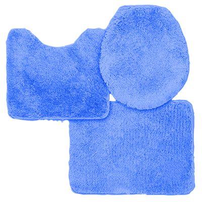 Jogo De Tapete Para Banheiro Aveludado Contém 3 Peças Sultan Azul