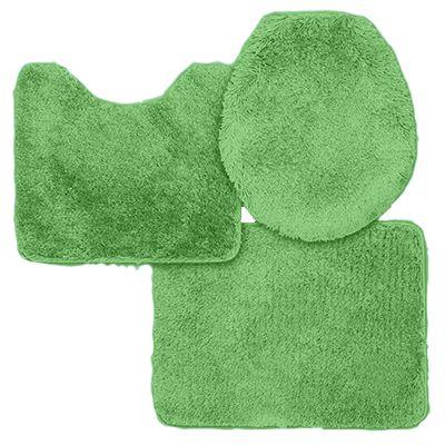 Jogo De Tapete Para Banheiro Aveludado Contém 3 Peças Verde Sultan