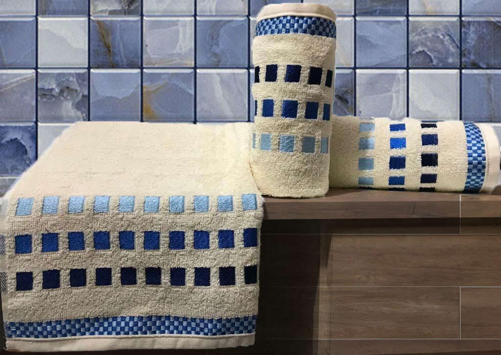 Jogo De Toalha Banho + Rosto Algodão Branca E Azul Calera Karsten
