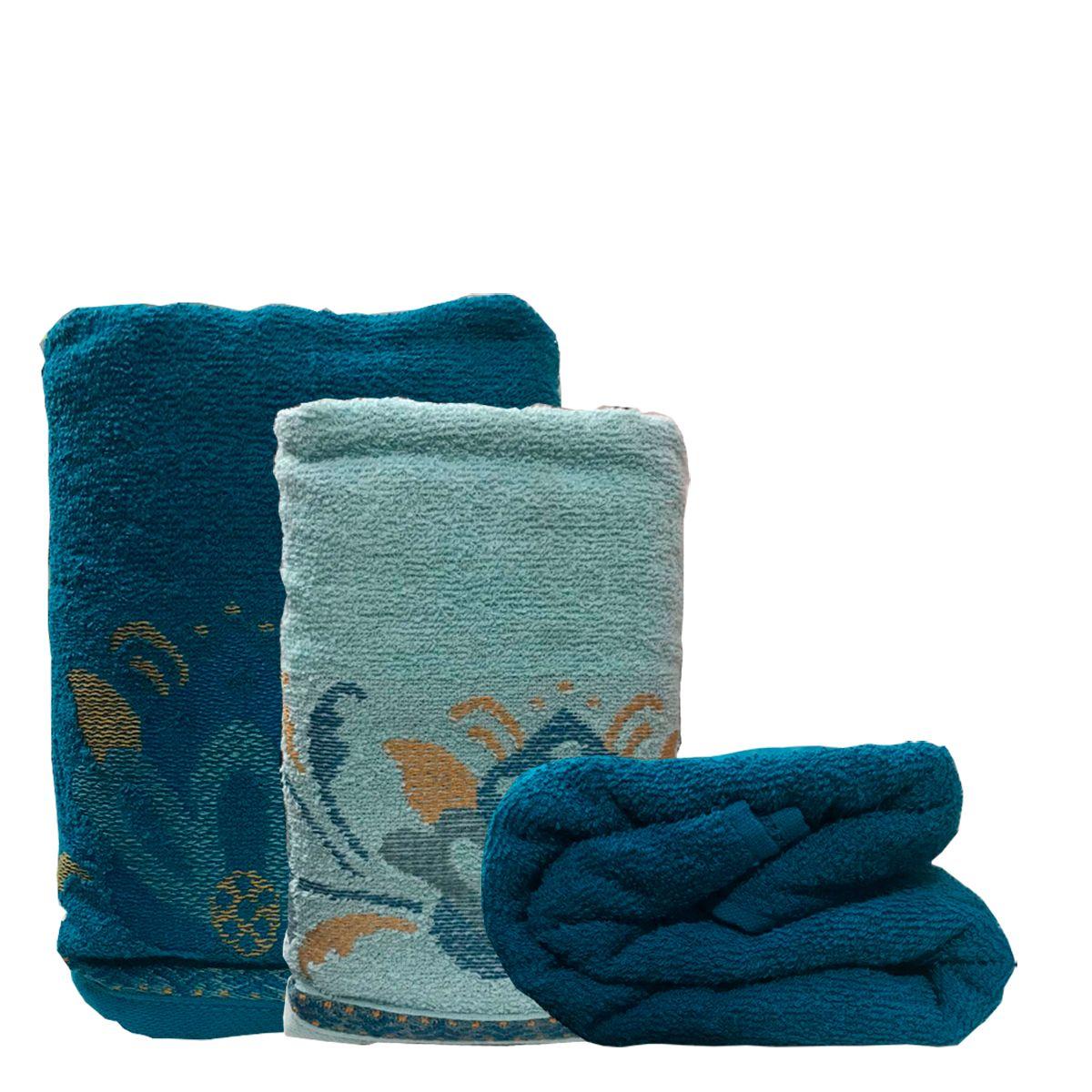 Jogo de Toalhas Lotus Azul Petroleo + Jade 5 pçs