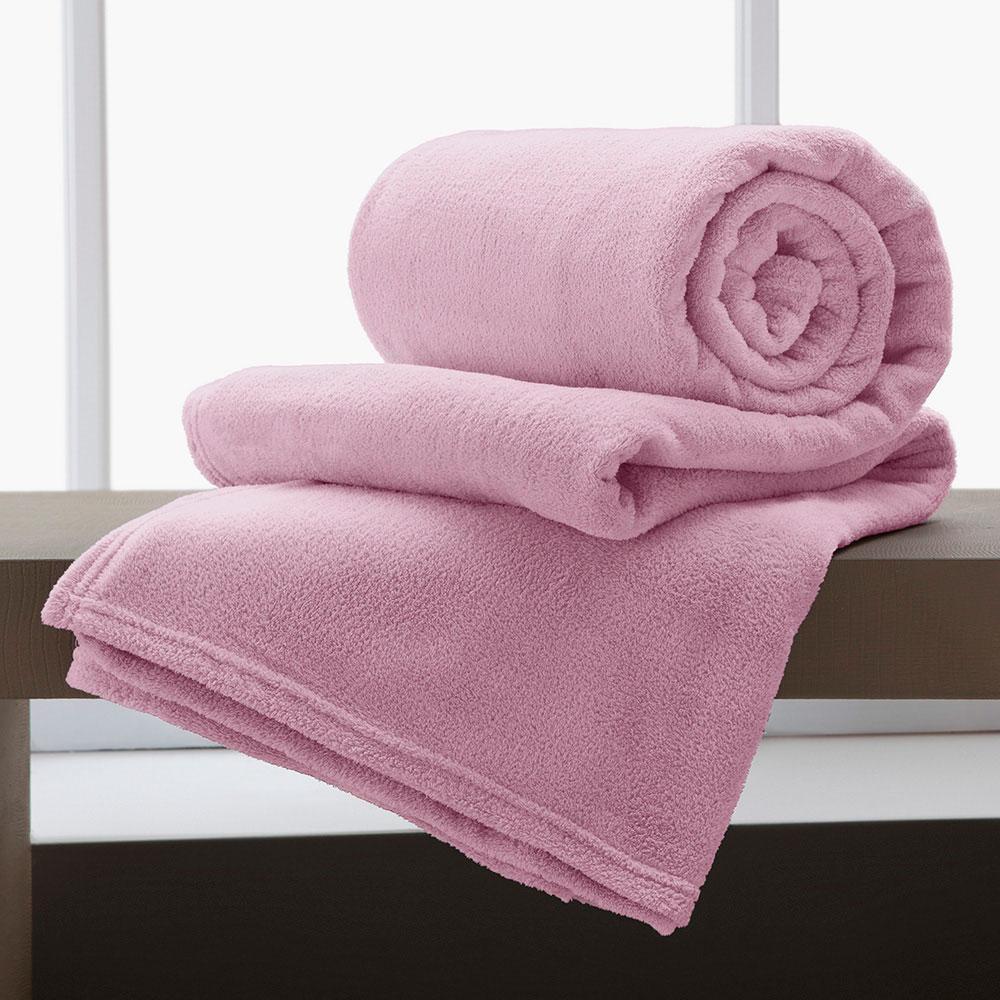 Jogo De 2 Cobertores Manta King De Microfibra 2,20x2,40 Corttex Rosa