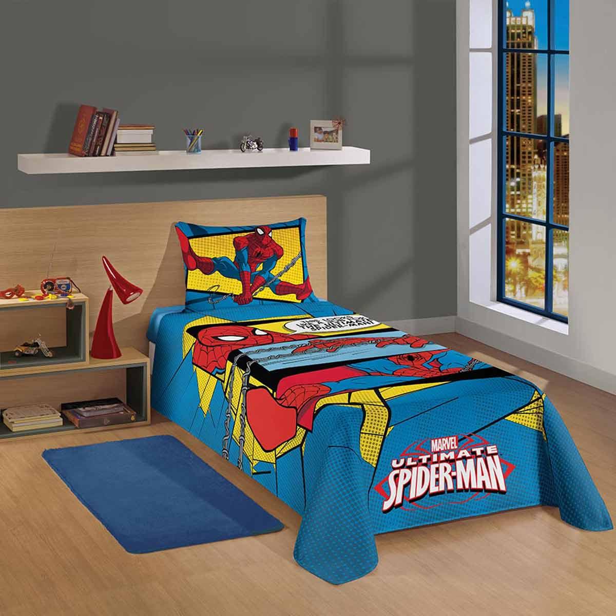 Jogo De Cama Solteiro Spider Man Ultimate Amarelo 3 Peças Lepper