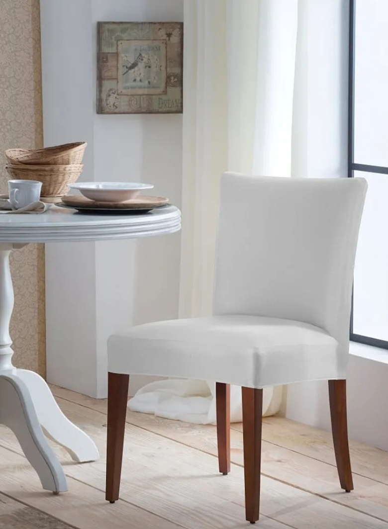 Kit 6 capas para cadeira de malha lisa branco