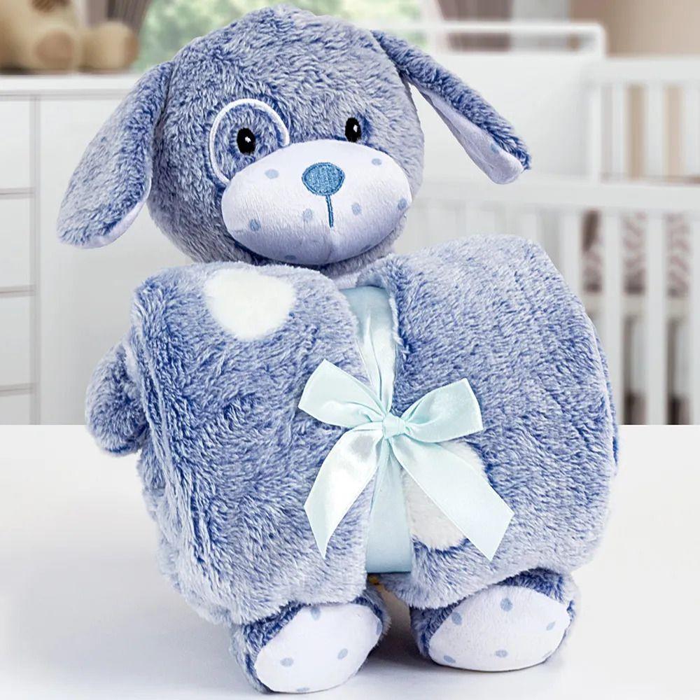 Kit Baby Manta Com Bichinho De Pelucia Microfibra Stone Washed Cachorrinho Azul