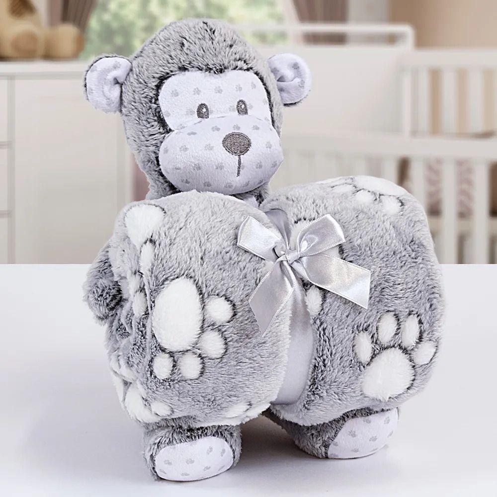 Kit Baby Manta Com Bichinho De Pelucia Microfibra Stone Washed Macaquinho Cinza