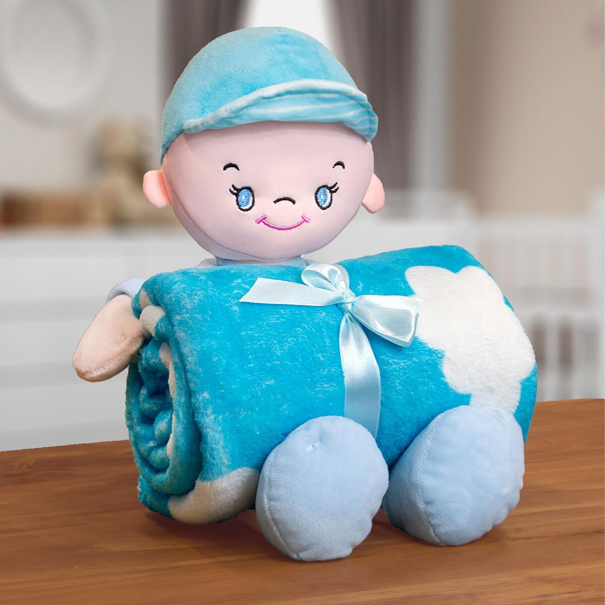 Kit Baby Manta Microfibra Com Boneco De Pelucia Boy Sky Azul
