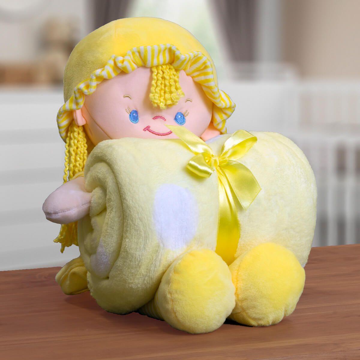 Kit Baby Manta Microfibra Com Boneco De Pelucia Nanny Amarela