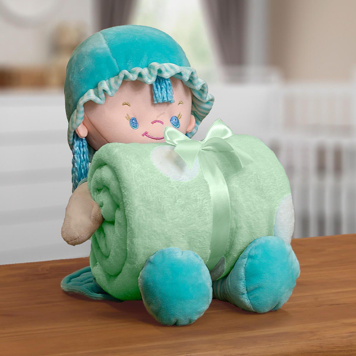 Kit Baby Manta Microfibra Com Boneco de Pelucia Nanny Verde-Agua