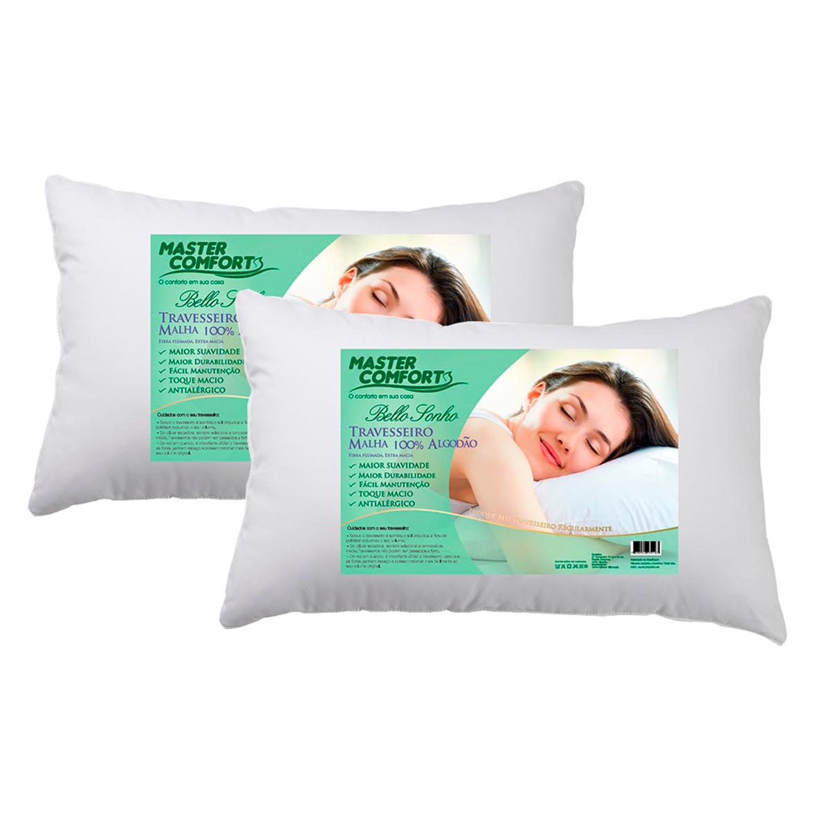 Kit com 2 Travesseiros Malha 100% Algodão Bello Sonho