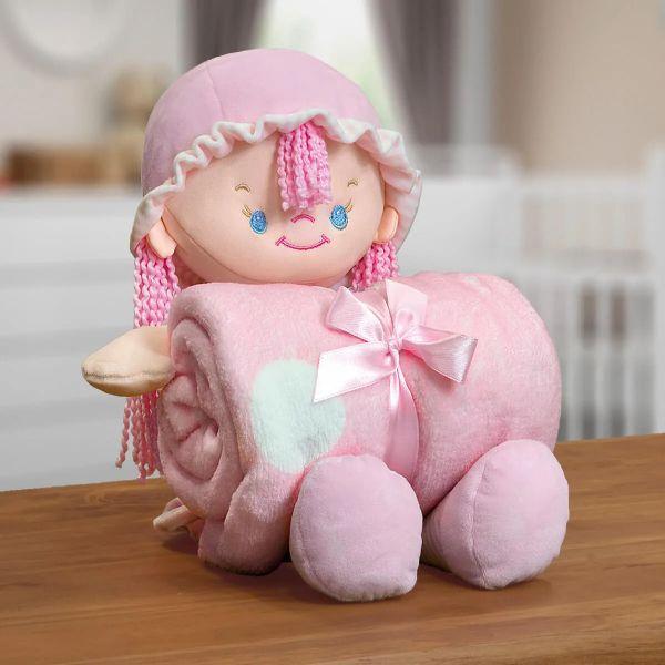 Kit Manta Infantil Em Microfibra Com Boneca Nany Rosa