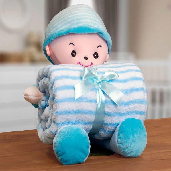 Kit Manta Infantil Em Microfibra Com Boneco Boy Azul