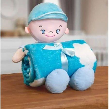 Kit Manta Infantil Em Microfibra Com Boneco Sky Azul