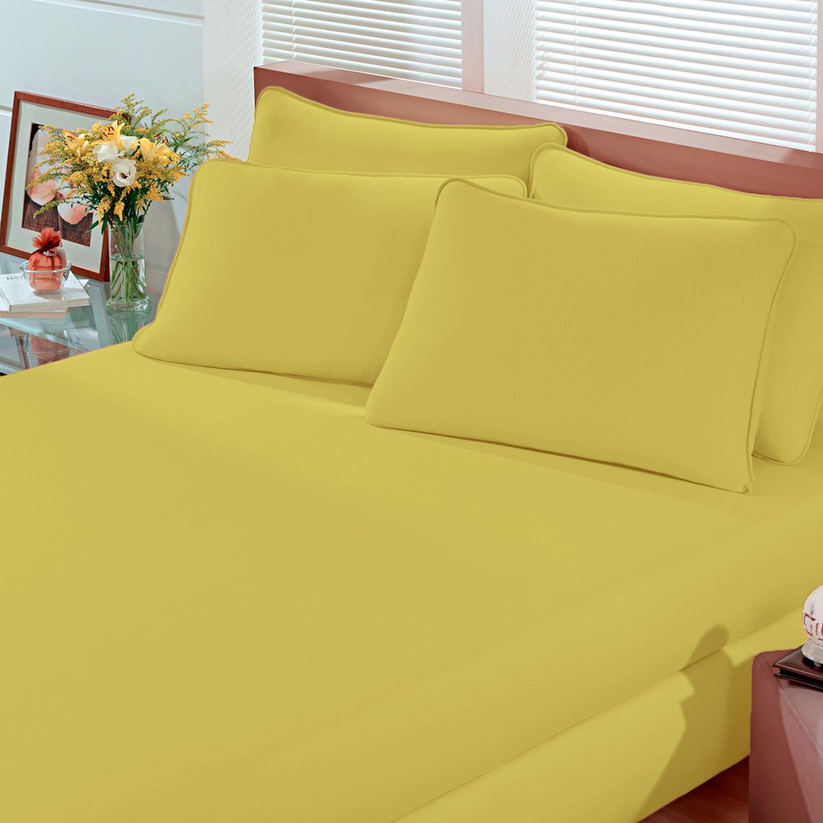 Lençol Avulso Casal Malha Com Elastico Amarelo Mel Bouton