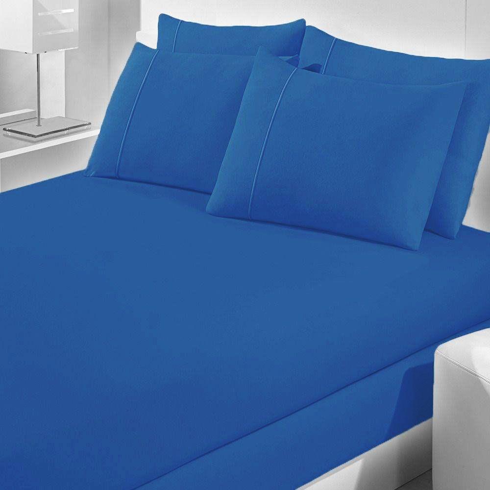 Lençol Avulso Casal Malha Com Elastico Azul - Bouton