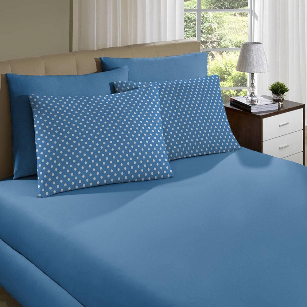 Lençol Avulso King Malha Com Elástico Azul Serenity - Portallar