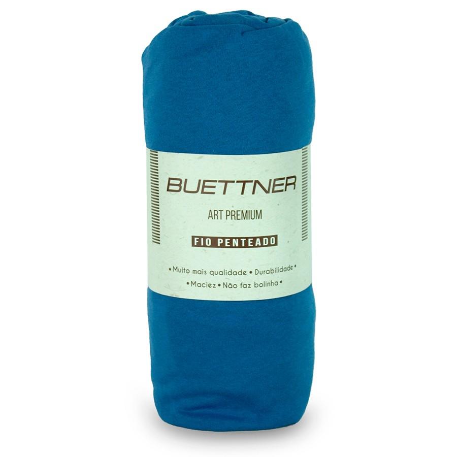 Lençol Avulso Solteiro Malha Com Elastico Azul - Bouton