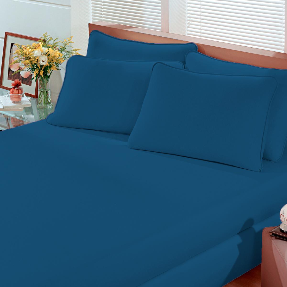 Lençol Avulso Solteiro Malha Com Elastico Azul Bouton