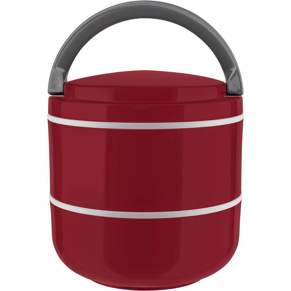Lunch Box Marmita Dupla Microondas Vermelho 1,4L Euro Home