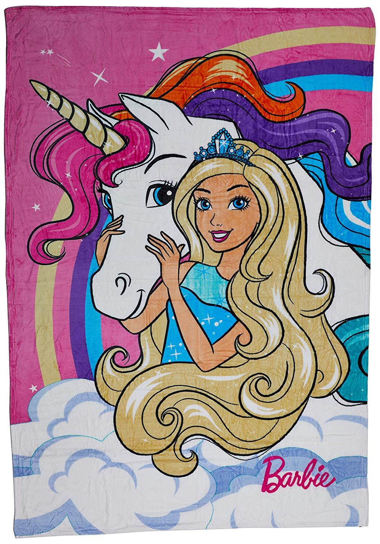 Manta Fleece Solteiro Barbie Reinos Mágicos Lepper