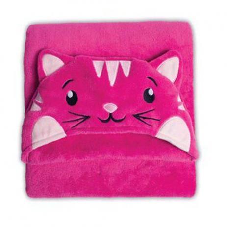 Manta Microfibra Infantil 90X90 com Capuz Gata Pink - Buettner