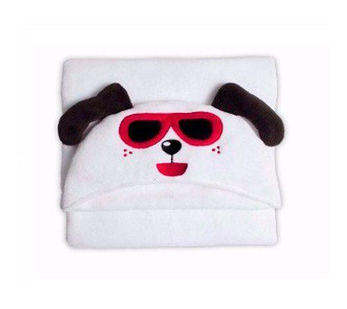 Manta Microfibra Infantil 90x90 Com Capuz Dog Happy Buettner