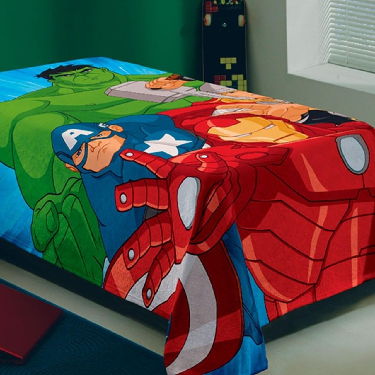 Manta Solteiro Fleece Estampada Avengers