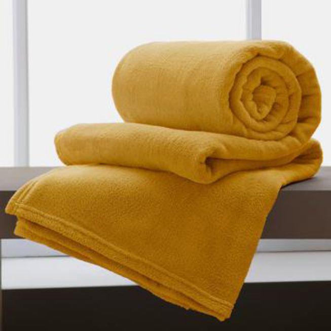 Manta Microfibra Casal 2,20x1,80 Home Design Cor Amarelo Corttex
