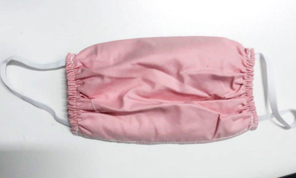Mascara para proteção 100% algodão 18x15cm Rosa 10 peças
