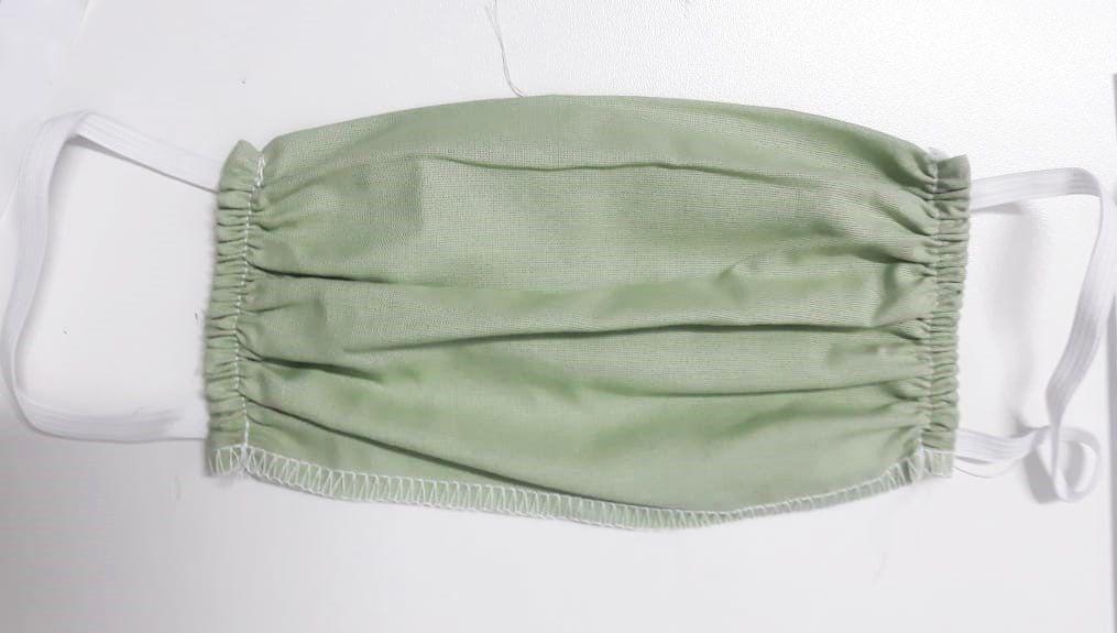 Mascara para proteção 100% algodão 18x15cm Verde pct c/10