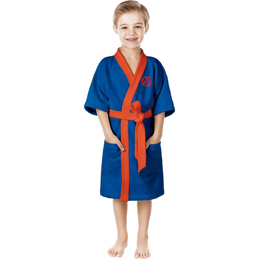 Roupão Felpudo Infantil M Quimono Estampado Avengers Azul - Lepper