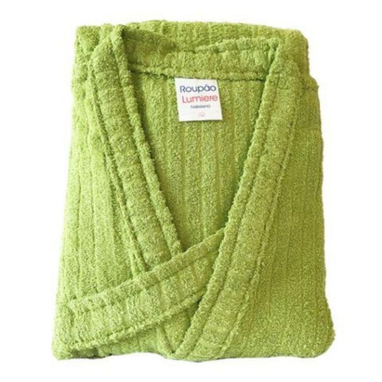 Roupão de Banho 100% Algodão Aveludado Adulto 3G Plus Size Verde Claro
