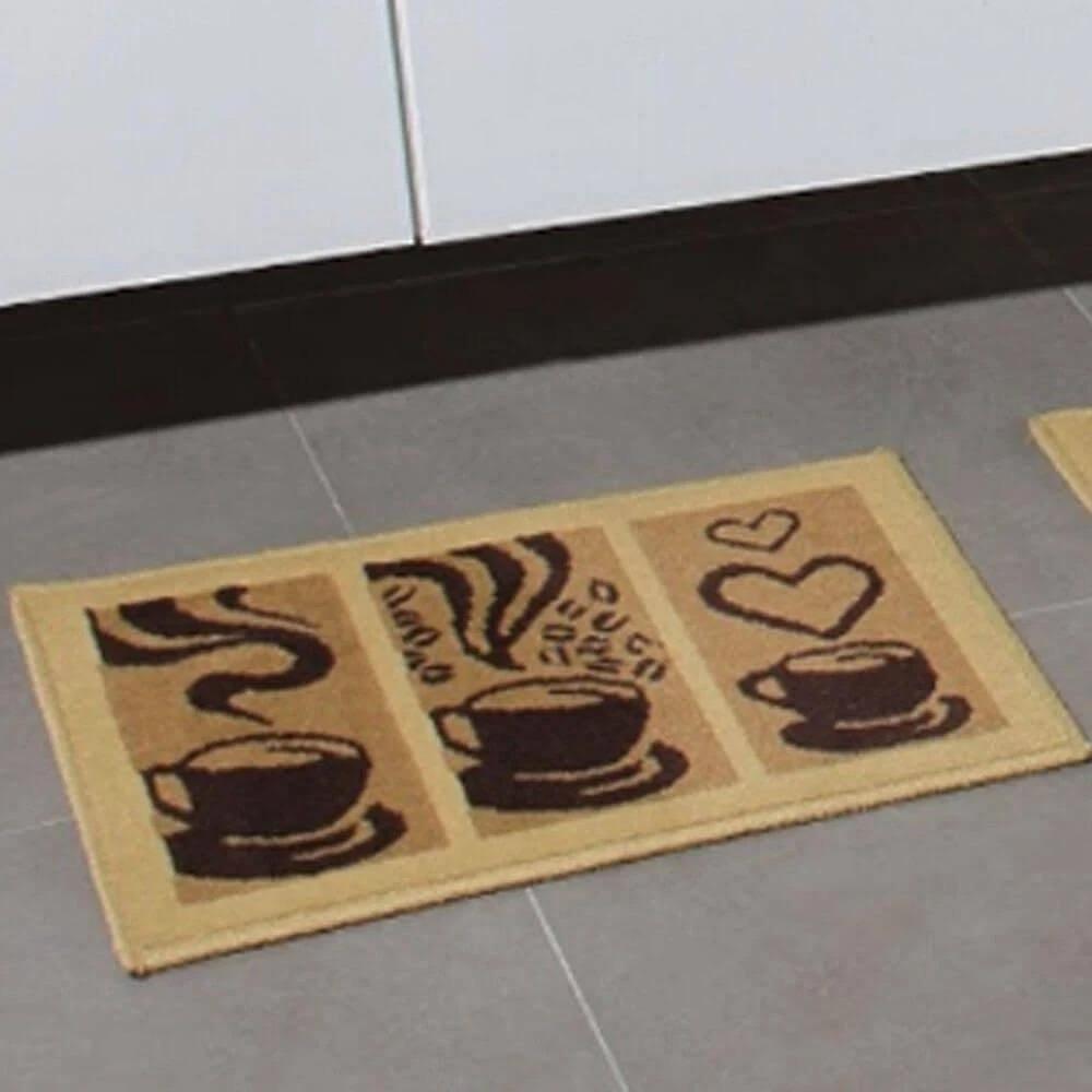 Tapete de Cozinha 3 Peças Antiderrapante Madrid Cafe