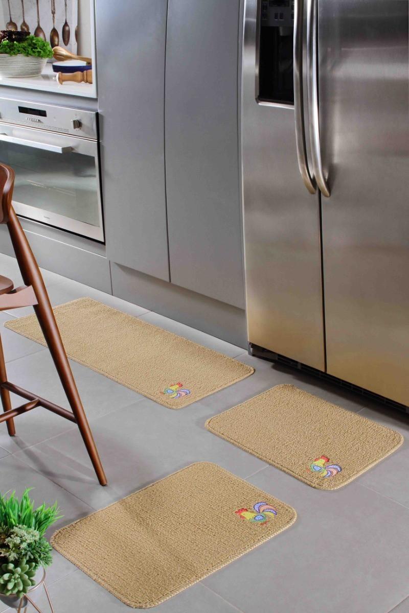 Tapete de Cozinha 3 Peças Patch Palha Galo