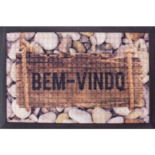 Tapete Fenice Estampado Pedras/madeira Marrom BellaCasa