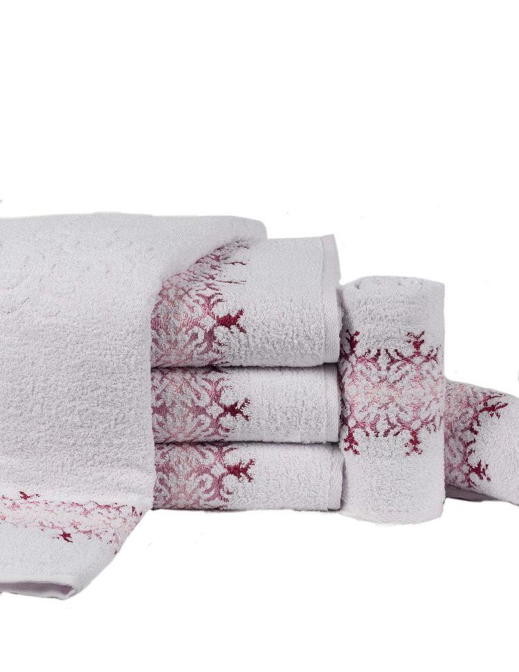 Toalha de Banho Branco c/ Rosa 80cmx140cm 100% algodão - Lufamar