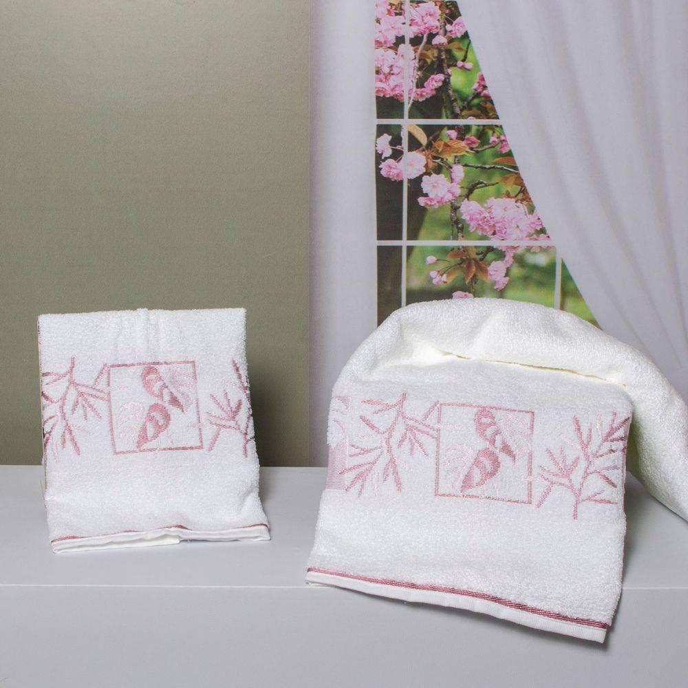 Toalha De Banho Magnolia Branco e Rosa - Karsten