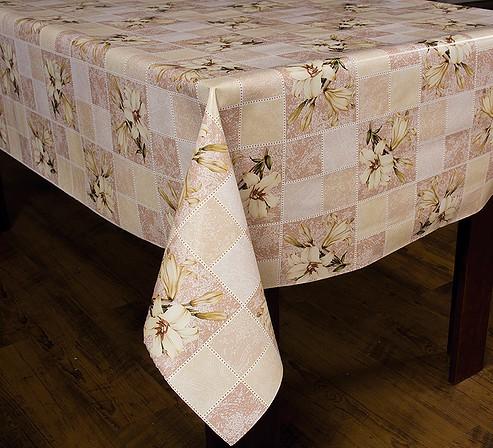 Toalha de Mesa Plastica Termica Floral Bege Bella Casa 140x140