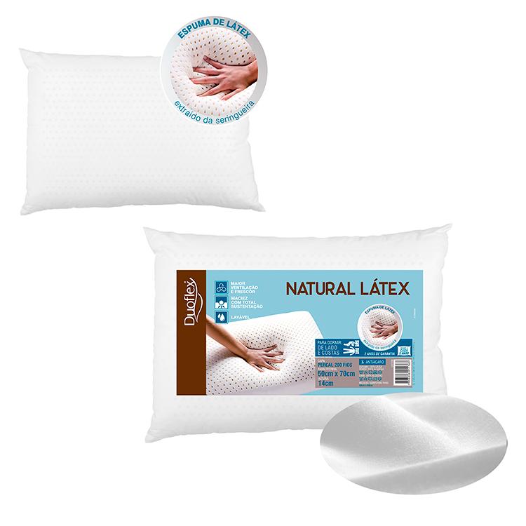 Travesseiro Natural Latex 40x68x14CM Forro 100% Algodão