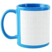 Caneca com tarja branca - azul claro