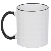 Caneca com borda colorida - preto