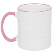 Caneca com borda colorida - rosa