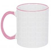 Caneca com borda colorida - rosa