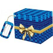 Caixa para Caneca Azul Felicidades com tag - pacote com 10 unidades